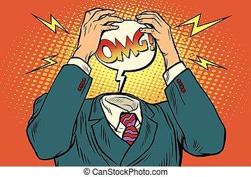 dolor de cabeza, énfasis, omg, o