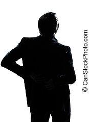 Dolor de espalda de hombre silueta
