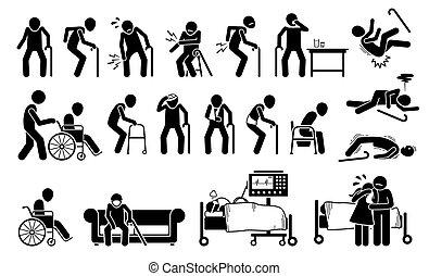 dolor, pain., herido, cuerpo, hombre, viejo, coyuntura