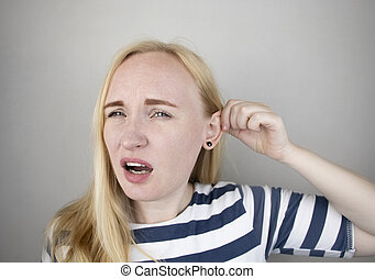 dolor, trigeminal, cerumen, meatus, oreja, otitis, divieso, debido, ear., enchufe, medios, o, neuralgia, sufre, auditivo, mujer, lastima