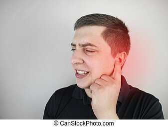 dolor, trigeminal, cerumen, meatus, oreja, otitis, divieso, debido, ear., enchufe, medios, o, hombre, neuralgia, sufre, lastima, auditivo
