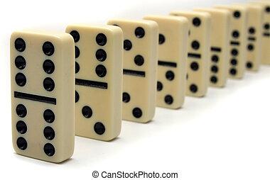 dominós, línea, marfil