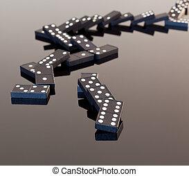 dominós, reflexivo, desplomado, superficie
