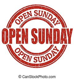 domingo, estampilla, abierto