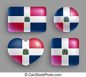 dominicano, bandera, conjunto, país, brillante, botones