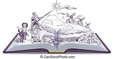 Don Quijote abre la ilustración de dibujos animados