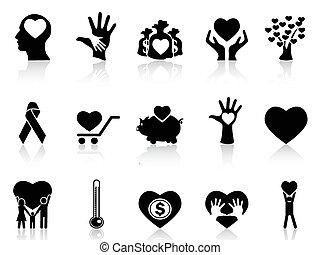 donación, caridad, negro, iconos