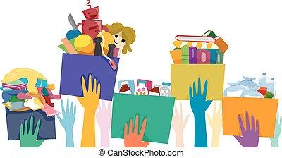 donación, manos, voluntario, caja