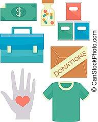 Donaciones voluntarios ilustran elementos