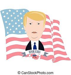 Donald Trump y la bandera americana