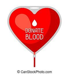 Donar sangre. Una bolsa de concepto de atención médica y de salud en forma de corazón