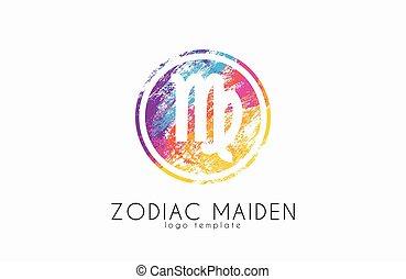 doncella, símbolo, creativo, logotipo, zodíaco, logo., design.