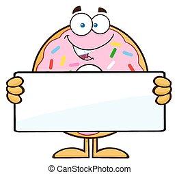 Donut con una señal en blanco