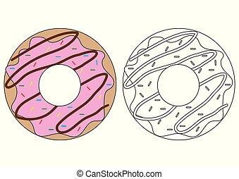 Donut. Libro de color. Actividad para niños.