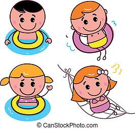 Doodle feliz natación lista