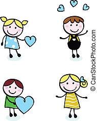 Doodle retó a los chicos con iconos de amor aislados en blanco