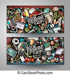 doodles, banderas, medicina, lindo, colorido, caricatura, vector