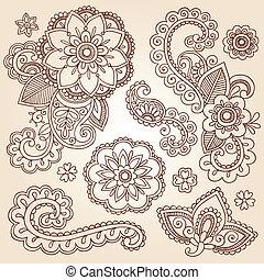 doodles, cachemira, alheña, flor, mehndi