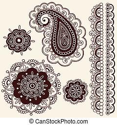 doodles, cachemira, vector, alheña, flor