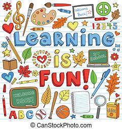 doodles, escuela, conjunto, espalda, aprendizaje