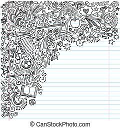 doodles, escuela, cuaderno, espalda, tinta