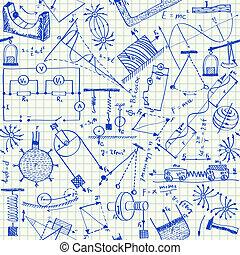 doodles, física, seamless, patrón