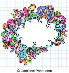doodles, marco, psicodélico, nube
