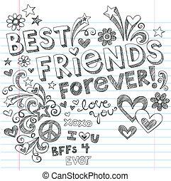 doodles, sketchy, vector, amigos, mejor