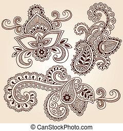 doodles, vector, conjunto, alheña, cuaderno