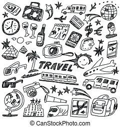 doodles, viaje, conjunto, -