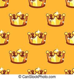 Dorada corona real sin fondo. Patrón rey y reina corono de fondo amarillo.