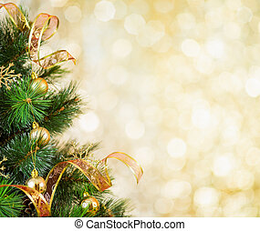dorado, árbol, navidad, plano de fondo