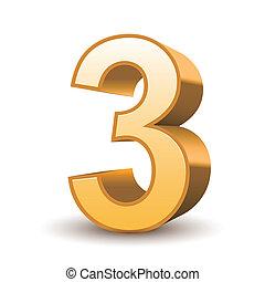 dorado, 3, brillante, número, 3d