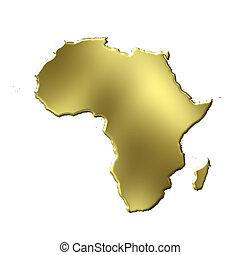 dorado, 3d, áfrica, mapa