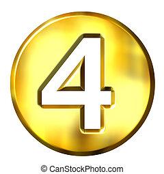 dorado, 3d, número 4, encuadrado