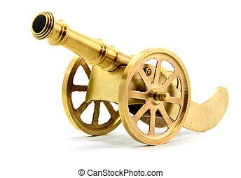 dorado, blanco, canon, aislado