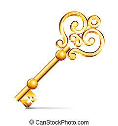 dorado, blanco, vector, aislado, llave