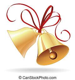dorado, boda, arco, navidad, rojo, campana, o