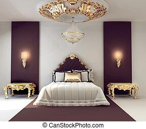 dorado, doble, real, lujo, dormitorio, interior, muebles