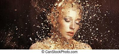 dorado, elementos, arte, splintering, foto, mujer, miles