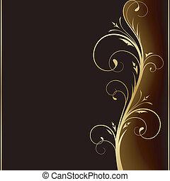 dorado, elementos, oscuridad, elegante, diseño, plano de fondo, floral