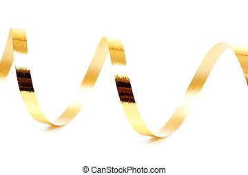 dorado, encima, fondo blanco, flámula