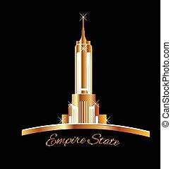 dorado, estado, york, nuevo, logotipo, imperio