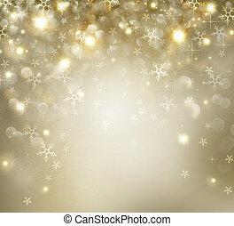 dorado, estrellas, parpadeo, plano de fondo, feriado, navidad