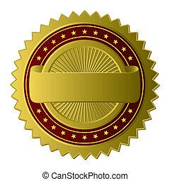 dorado, etiqueta, (vector)