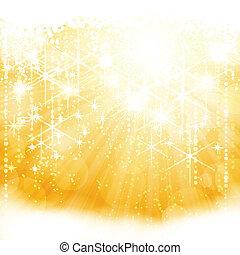 dorado, explosión, luz, resumen, brillante, luces, estrellas, borroso
