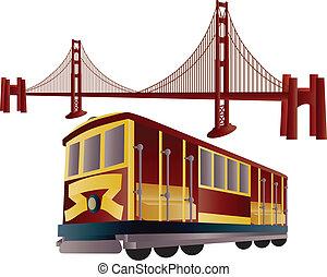 dorado, francisco, san, cable, puente, coche, puerta
