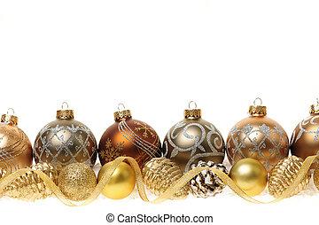dorado, frontera, ornamentos de navidad