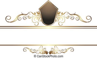 dorado, frontera, vendimia, elemento