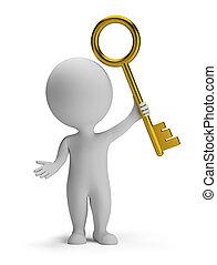 dorado, gente, -, llave, pequeño, 3d